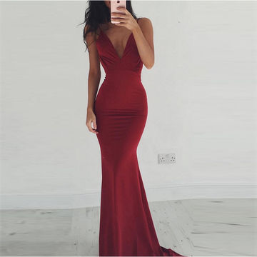 Red Sexy Spaghetti Straps Backless Stretch Satin Prom Dresses 2017