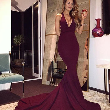 Burgundy Mermaid V Neck Backless Sweep Train Prom Dresses 2018