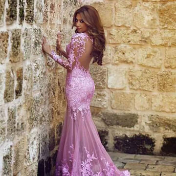 Charming Appliques Mermaid Tulle Prom Dresses 2018