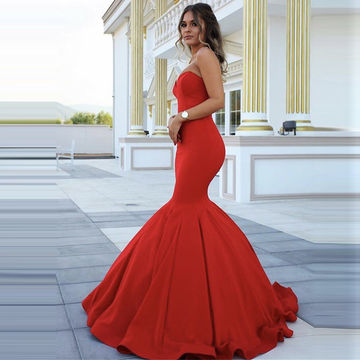 Red Chic Sweetheart Mermaid Satin Prom Dresses 2018