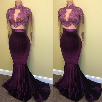 Beading Appliques High-Neck Mermaid Two Pieces Prom Dresses 2017