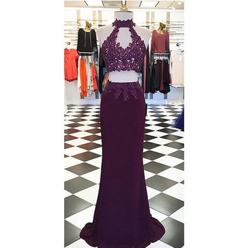 Beading Appliques Halter Stretch Satin Two Pieces Prom Dresses 2017
