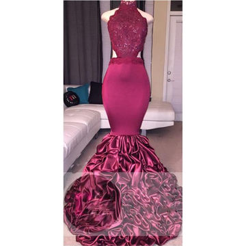 Beading High-Neck Mermaid Taffeta Prom Dresses 2018