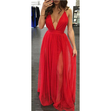 Red Sexy Deep V-Neck A-line Prom Dresses 2017