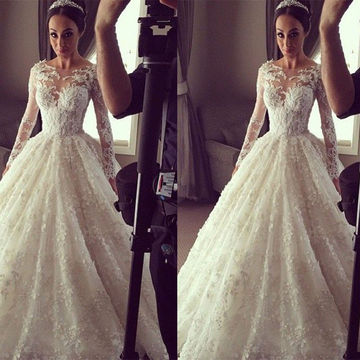 Ball Gown Formal/Wedding Dresses 2018 White Lace
