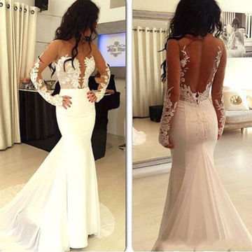 White Sexy Satin Tulle Mermaid Evening/Prom Dresses 2018