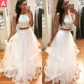 White Beading A-line Tulle Two Pieces Prom Dresses 2017