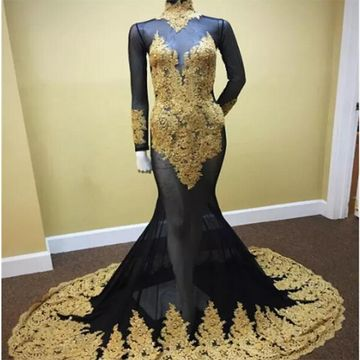 Black and Gold Sexy Tulle Mermaid Pageant/Prom Dresses 2018